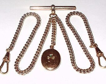 Vintage 18ct Rolled Rose Gold Double Albert Pocket Watch Chain - complete with TBar, Dog Clip and Unusual Fob