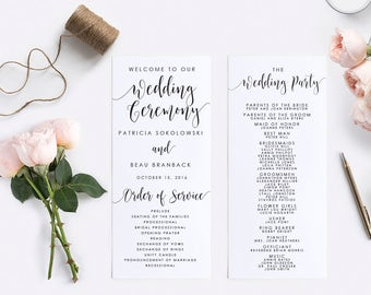 Wedding Program Template, Instant Download, Digital Calligraphy, Editable PDF, Printable Template, Wedding Template, Program-#SN022_P
