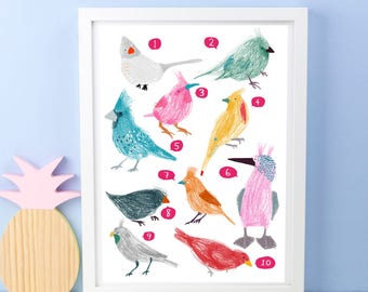 10 Birds Counting Print