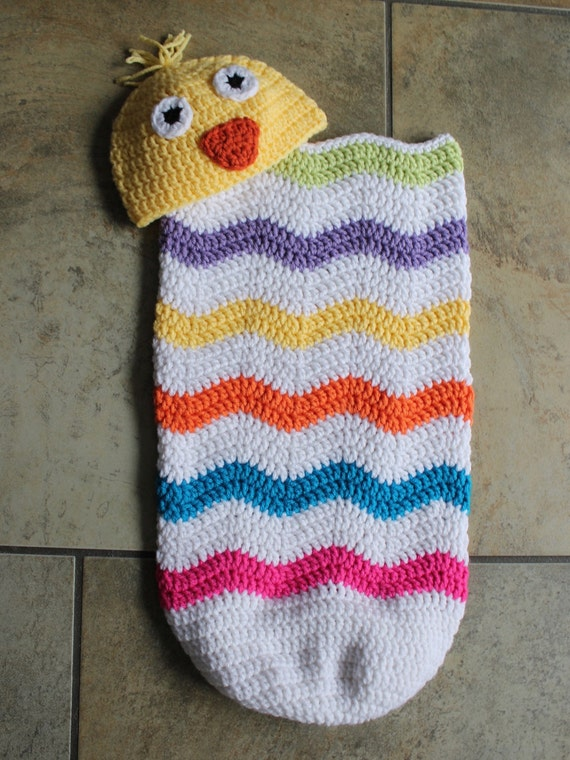 Crochet Baby Egg Cocoon Pattern : Easter Egg Cocoon with Baby Chick Hat Crochet Pattern ...
