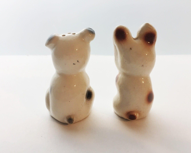 Adorable Dog Shakers Vintage Made In Japan Novelty Salt