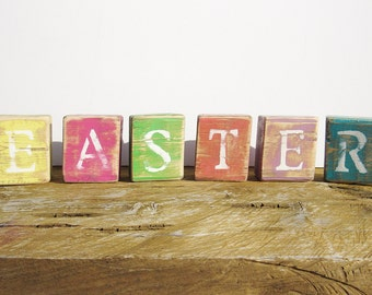 EASTER Rustic Wood Blocks-Easter Decorations-Home Decor