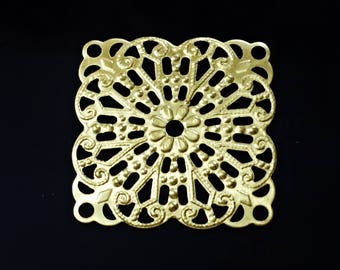 Vintage Set of 5 ,   Brass Stampings, filigree Jewelry Findings.made in USA /U11