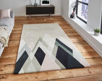 Geometric Wool Rug, 100% Wool Rug, Hand Tufted Wool Rug, Modern Wool Rug, Scandi Design Wool Rug