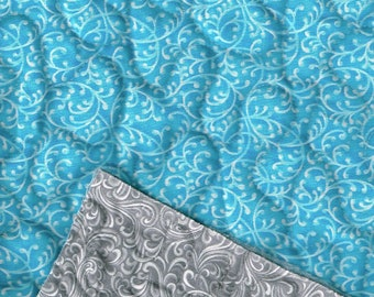 Prequilted teal vine/Gray vine,Choice fabrics
