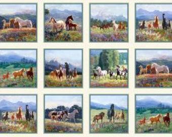"Horse Wildflower Trails, Elizabeth Studio,24"" Panel 7x7"" sq."