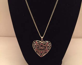 Silver Filagree Heart Pendant Necklace
