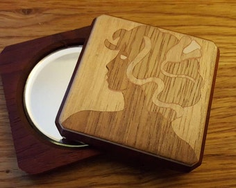 Compact purse mirror with Marquetry/Inlay design