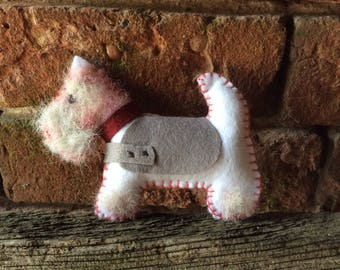 Felt Scottie/Westie Dog filled with Natural Sheep Wool