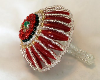 Colorful umbrella in jade, pearl and glass beads; beadweaving, red, white; Art & Collectibles, Collectibles, Figurines and Knick Knacks
