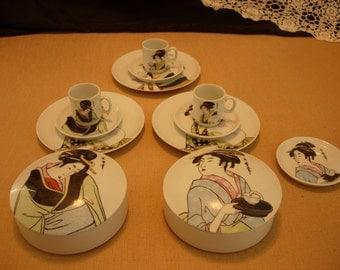 Royal Crown Japan Ivory Porcelian by Utamaro, 14 pieces total
