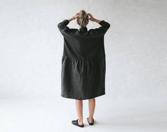 LINEN dress OVERSIZED dark grey LOOSE dress one size