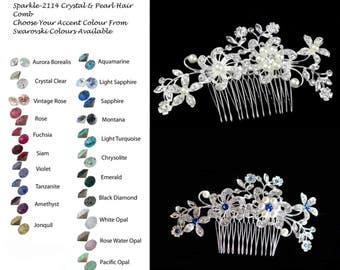 Choose Your Accent Colour -- Vintage Inspired Crystal Rhinestone and Pearl Hair Comb, Wedding, Bridal (Sparkle-2114)