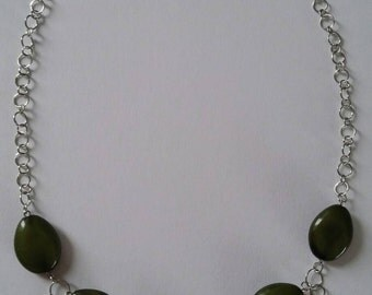 Green Beaded Chain Necklace