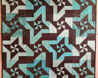Brown and Turquoise Pinwheel and Stars Baby Quilt