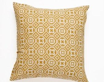 Karo Handscreen Printed Cushion Cover - Golden Yellow  40x40cm