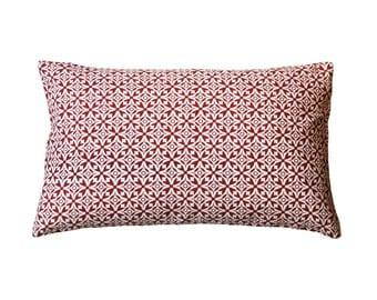 Nila Handscreen Printed Cushion Cover - Indian Rust 30x50cm