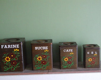 Kitchen Canisters // French Wood Kitchen Canisters // French Kitchen Canisters