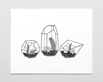 Terrarium Letterpress Art Print