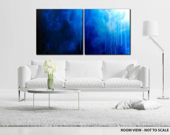 """40"""" Large TEXTURED, Original ABSTRACT PAINTING, canvas, Wall Art, Modern, Contemporary, Blue, White"""