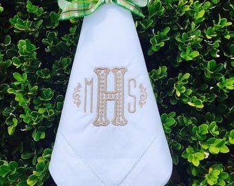 Monogrammed Hemstitched White Linen Napkins, Set of 4 +