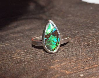 Size 5 Green Ammolite Sterling Silver Ring