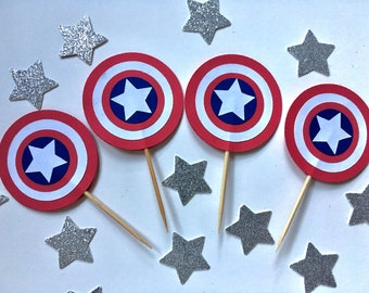 Captain America Cupcake Toppers - Avengers Party - Superhero Birthday Party - Kids Birthday Party