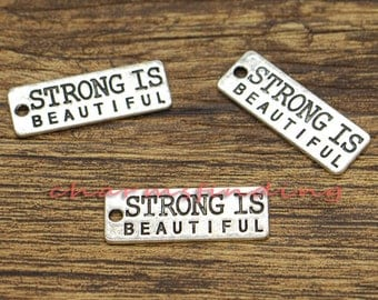 20pcs Strong is Beautiful Charms Fitness Weight Training Charm Antique Silver Tone 27x10mm CF2434