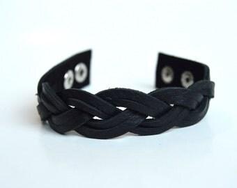 Women's Black Braided Leather Cuff:  Genuine Leather Double Strand  Magic Braided Leather Bracelet In True Black