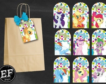 20 My Little Pony Thank You Tags,My Little Pony Favor Tags, My Little Pony Tags, My Little Pony thank you Different designs INSTANT DOWNLOAD