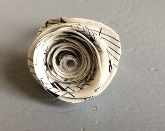 Handmade, music paper flower ring.