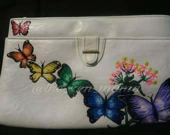 Butterflies & Milkweed - Handpainted Vintage Handbag