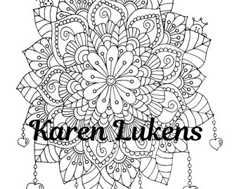 Beaded Bouquet, 1 Adult Coloring Book Page, Printable Instant Download, flowers