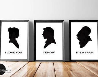 Set of 3, I Love You I Know It's A Trap, Star Wars, Han and Leia, Death Star, Darth Vader, Love Art, Wedding Gifts, His and Hers, Wall Art