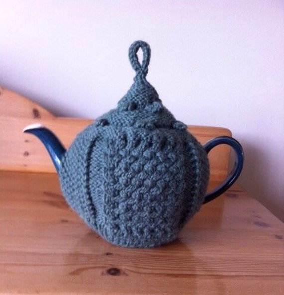 Knitted Teapot Cosy Patterns : Green Tea Cosy Knitted Aran Pattern Tea Cosy Wool Tea Cozy
