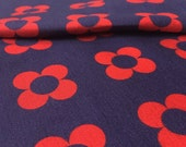 Tissu interlock jersey - coupon 45x135cm - motif fleurs Twiggy - rouge et bleu - design exclusif La Modette