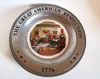 Pewter Bicentennial Wall Plate  1776  Declaration of Independence