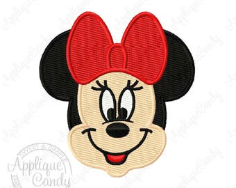 Miss Mrs Mouse Head Face Solid Fill Machine Embroidery Design 2x2 2.5x2.5 3x3 Girl Bow INSTANT DOWNLOAD