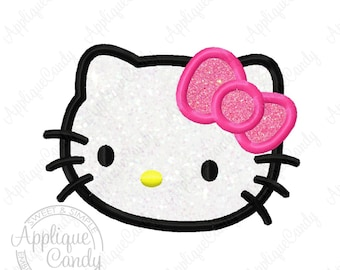 Kitty Applique Machine Embroidery Design File 4x4 5x7 6x10 hk cat bow Hello INSTANT DOWNLOAD