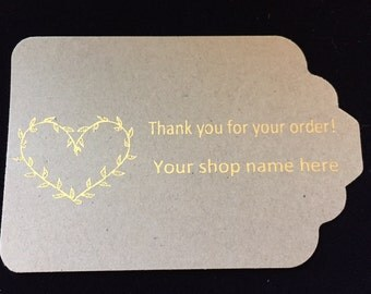 Custom tag Thankyou tag Tag Heart Tag Gift Tag Gold foil Tag Custom gift tag