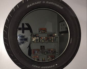 Custom made Harley Davidson Tire Mirror/Harley Davidson/ Father's Day