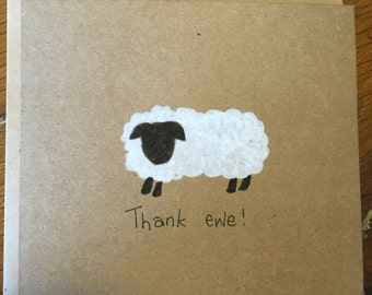 Thank ewe card, Thank you card, thank you, thank you for the gift, thanks card, thank you teacher, thank you gift, appreciation card