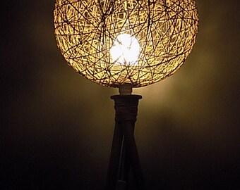 Floor lamp wooden Lampshade in string