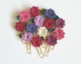 Rose Felt Flower Paperclips, Planner Clips, Gold Jumbo Paperclips, CUSTOM COLORS, available in bulk