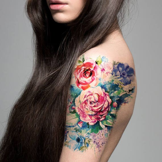 Bouquet Tattoo Tattoos: Supperb Large Temporary Tattoos Watercolor Painting Bouquet