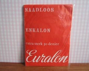 Deadstock Vintage Euralon Nylons Stockings Hosiery Hose Legwear Garter Belt Suspender Camel L XL 30 Denier Enkalon Nylon Seamless Strong 70s