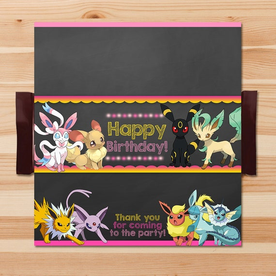 Pokemon Eevee Evolutions Candy Wrapper - Pink Chalkboard - Girl Pokemon Eevee Chocolate Wrapper - Pokemon Party - Pokemon Printables - Evee