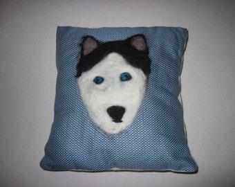 Huskie Needle Felted Cushion