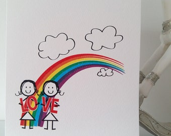 LGBT Gay Love Rainbow Card, lesbian, valentines, girlfriend, wife, samesex, mrs&mrs, birthday, anniversary, love, lgbt, handmade, ireland