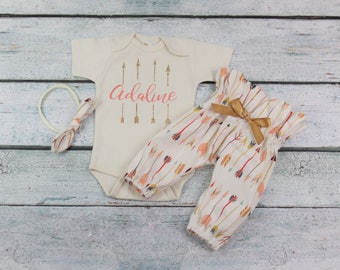 baby girl coming home outfit/newborn take home set/ arrow outfit/personalized onesie